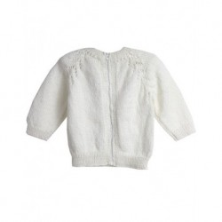 Baby Cardigan İn White With Zip