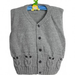 Children Vest In Grey With Knitted Owl Dessign