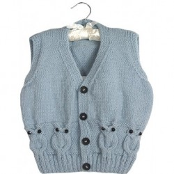 Childrens Vest In Ice Blue And Knitted Owl Design