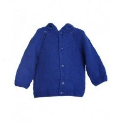 Bebek Hırkası Mavi Renk Kapüşonlu