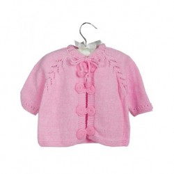 Baby Cardigan Pink With Pearl Buttons