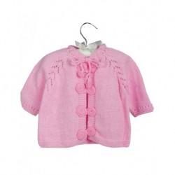 Bebek Hırkası Pembe Renk Özel Tasarım Düğmeli