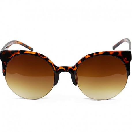 Round Half Cat Model Leopard Patterned Sunglasses