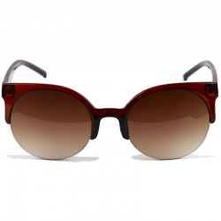 Round Half Cat Model Brown Sunglasses