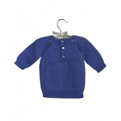 Baby Jumper In Blue With Pearly Buttons