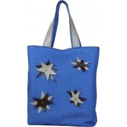 Kot Kumaş Çanta Mavi Renk Üzerine Deri Çiçekli Model