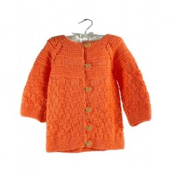 Childrens Cardigan Orange With Heart Buttons