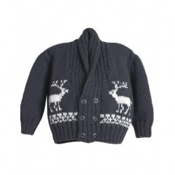 Baby Cardigan In Grey With Reindeer Design