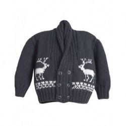 Baby Cardigan In Grey With Reindeer Design