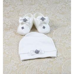 Taşlı Beyaz Fiyonklu Başlıklı Bebek Patiği
