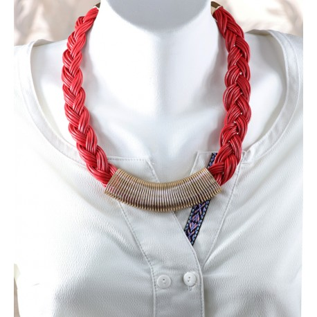 Leather Necklace Red Hair Braided Model