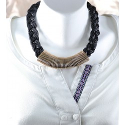 Leather Pendant Black Hair Braided Model