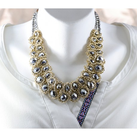 Necklace Gray Beaded Chain