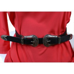 Black Double Buckled Belt