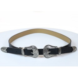 Black Double Buckled Belt