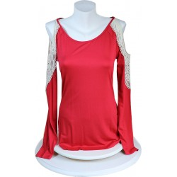 Red Color Handles Lace T-shirt