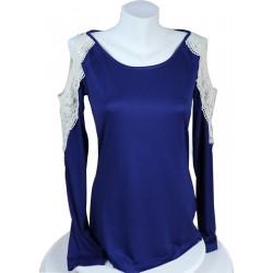 Mavi Renk Kolları Dantelli T-shirt