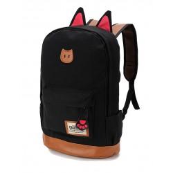 Kedi Kulaklı Sırt Çantası Siyah Renk