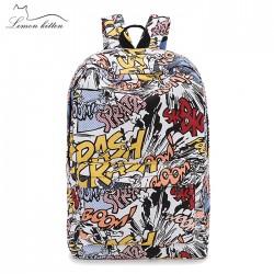 Graffitili Yazı Desenli Sırt Çantası