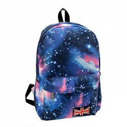 Galaxy Patterned Blue Backpack