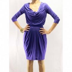 Mango Purple Combed Cotton Dress