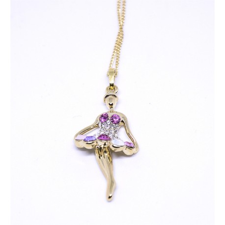 Ballerina Elegant Necklace With Pink Stone