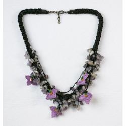 Custom Design Ethnic Model Needle Pendant Purple Necklace