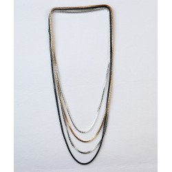 Three Color Chain Cast Long Necklace