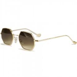 Image Vintage Retro Style Hexagon Brown Glazed Sunglasses