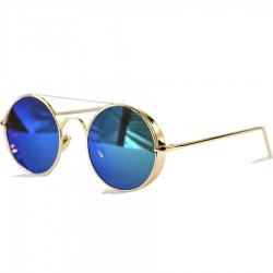Gotihic Steampunk Round Design Purple Mirrored Sunglasses