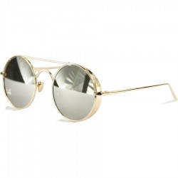 Gothic Steampunk Round Design Gray Mirrored Sunglasses