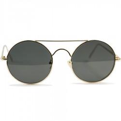Gothic Steampunk Round Design Black Glass Sunglasses
