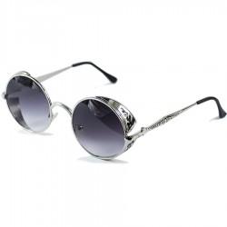 Gothic Steampunk Round Motif Design Black Mirror Glass Sunglasses