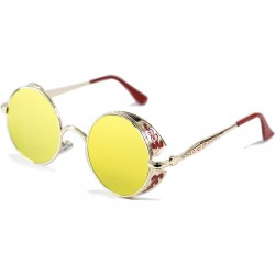 Gothic Steampunk Round Motif Design Yellow Mirror Glass Sunglasses
