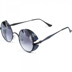 Gothic Steampunk Round Blue Motif Design Black Degrade Glass Glare Sunglasses