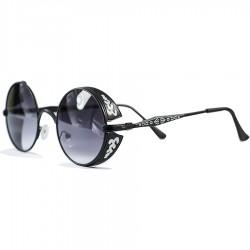 Gothic Steampunk Yuvarlak Beyaz Motifli Tasarım Siyah Degrade Camlı Güneş Gözlüğü