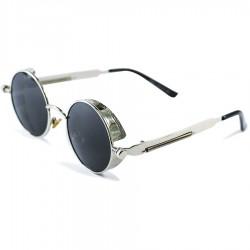 Gothic Steampunk Round Spring Design Black Glass Silver Rectangular Metal Framed Sunglasses