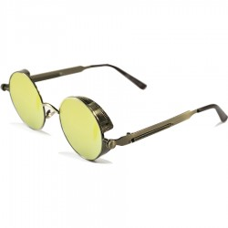 Gothic Steampunk Round Spring Design Yellow Mirror Glass Ancient Color Metal Framed Sunglasses