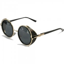 Steampunk Design Round Side Protected Black Glass Sunglasses