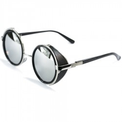Steampun Round Side Protected Design Gray Mirrored Sunglasses
