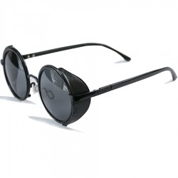 Steampunk Round Side Protected Design Black Sunglasses