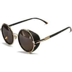 Steampunk Round Side Protection Design Brown Leopard Patterned Framed Sunglasses