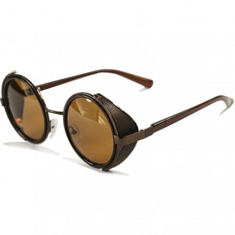 Steampunk Yuvarlak Yan Korumalı Tasarım Kahverengi Güneş Gözlüğü