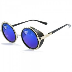 Steampunk Round Side Protected Design Blue Mirrored Sunglasses