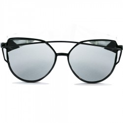 Gothic Steampunk Black Cat Design Gray Mirrored Sunglasses