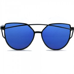 Gothic Steampunk Black Cat Design Blue Mirrored Sunglasses