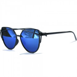 Gothic Steampunk Black Cat Design Blue Mirrored Sunglasses