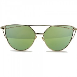 Steampunk Metal Cat Green Mirrored Glass Gold Color Framed Sunglasses
