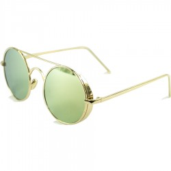 Gothic Steampunk Green Mirror Yellow Metal Design Round Sun Glasses
