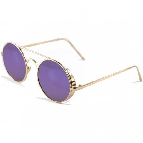 Gotihic Steampunk Round Design Purple Mirrored Sunglasses